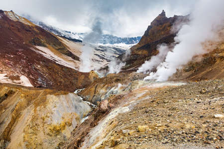 Majestic mountain landscape, crater of active volcano: hot spring and fumarole activity, lava field. Stunning volcanic landscape, travel destinations