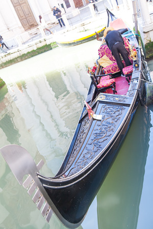Gondolas in Venice on Grand Canal photo