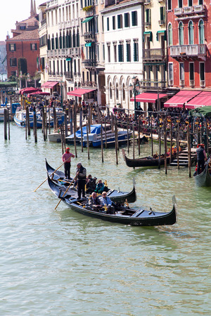 Gondolas in Venice on Grand Canal