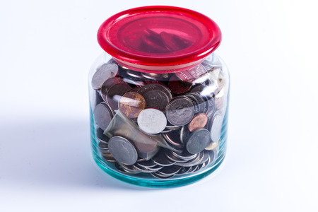 money jar: Money jar with isolate white background Stock Photo