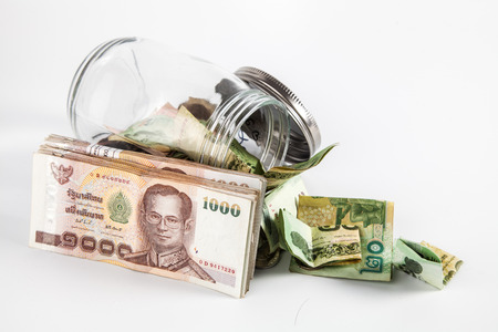 money jar: Money jar with thai money