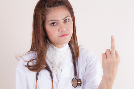 uneducated: Doctor showing midlle finger in a rude gesture