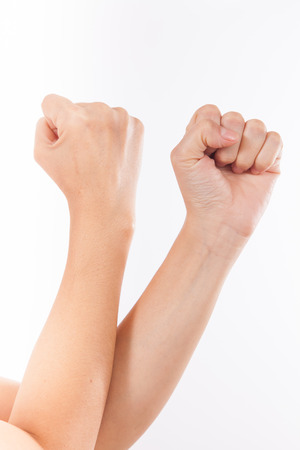 closed fist sign: arm ,hand with a fist, isolated on a white background
