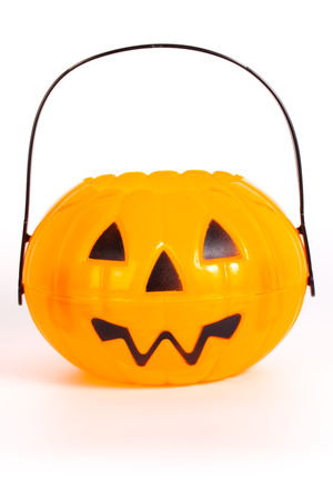trick or treating: Halloween Pumpkin bucket for trick or treating Stock Photo