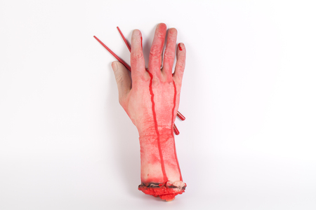 zombie: Zombie want to eat !!! Zombie want to eat a part of human body with Chopsticks isolated  and copyspace