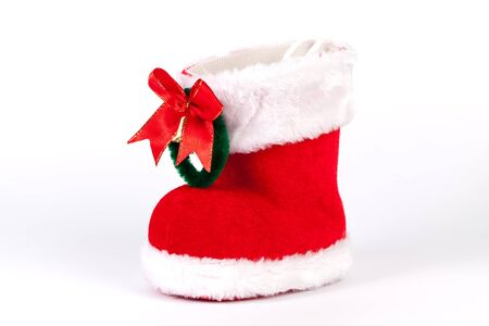 nikolaus: Christmas santa boot isolated on white Stock Photo