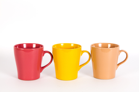 bar ware: Set of colorful cups isolated on white background