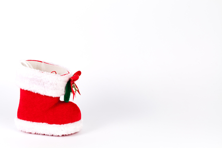 copyspace: Red Santas boot with copyspace isolated on white background