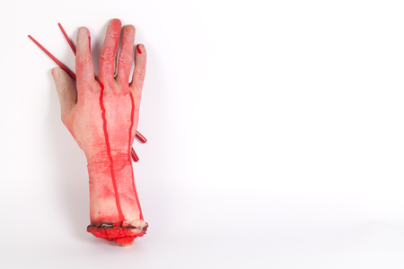 icky: Zombie want to eat !!! Zombie want to eat a part of human body with Chopsticks isolated  and copyspace
