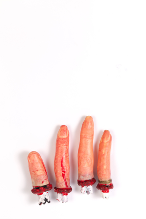 icky: Halloween finger supplies mysterious gifts horror gift Tricks toys Broken finger Mutilation isolated on white background