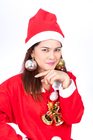 tricky: Asian santa women with tricky face isolated on white