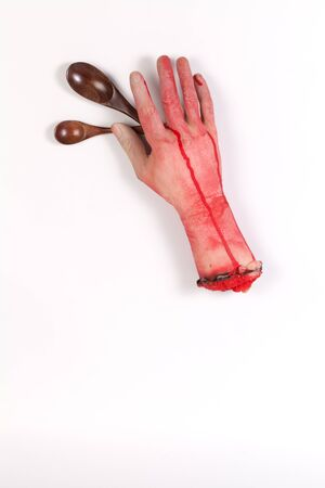 zombie hand: Zombie Hand and wooden Spoon with copyspace