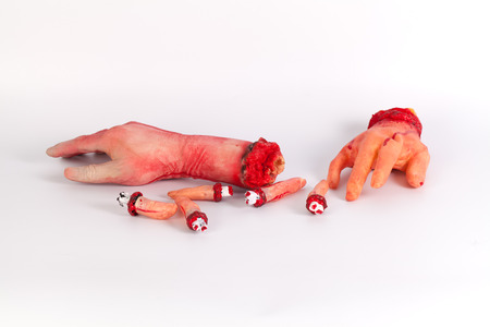 creepy hand: the creepy halloween toy , Zombie Hand w,terrible zombie hands, dirty hands of the mummy, zombie theme, halloween theme, white background, isolated Stock Photo
