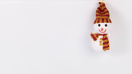 snowman isolated: Hanging christmas snowman isolated on white background