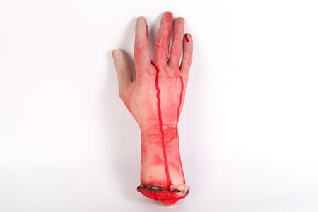 icky: the creepy halloween toy , Zombie Hand w,terrible zombie hands, dirty hands of the mummy, zombie theme, halloween theme, white background, isolated Stock Photo