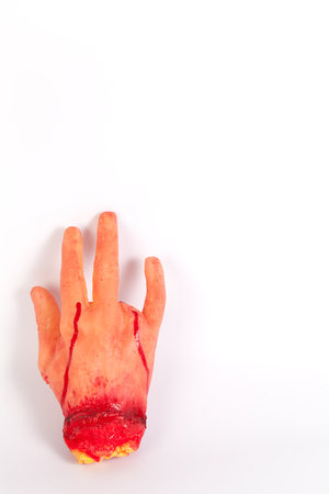 tricky: masquerade Halloween horror spoof Funny Tricky props entire toy hand amputation in the number of blood