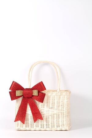 Santa basket isolated on white Banco de Imagens