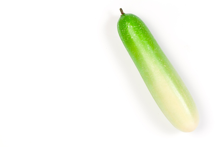 cuke: Close up of fake cucumber. Isolated on a white background Stock Photo