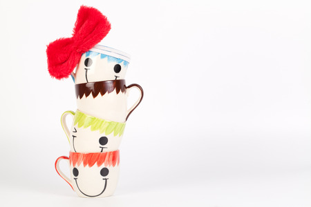 Happy cup  Concept about happiness and waiting for someone.With copy space