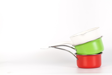 Red and Green and white cooking pot isolated on white background