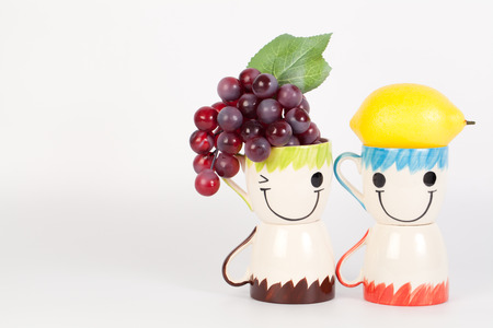 Fruit time  with happy cups,Happiness concept
