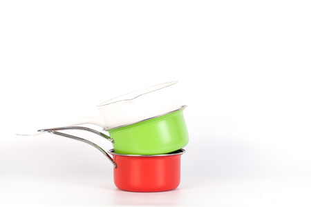 Red and Green and white Pan for cooking the daily meal