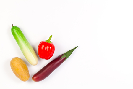 Cucumber ,Purple Eggplant ,potato and bell pepper isolated on white background