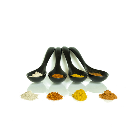 four of a kind: four kind of spice in black spoons