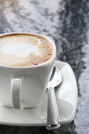 A cup hot cappuccino coffee for relax