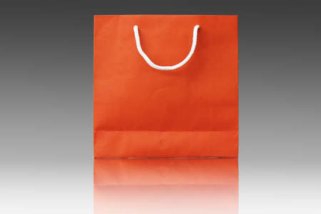 red recyclable paper bag isolated on  background
