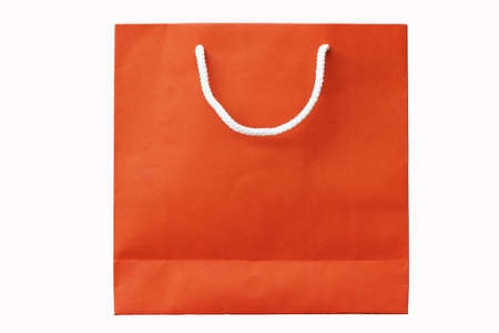 red recyclable paper bag isolated on white background