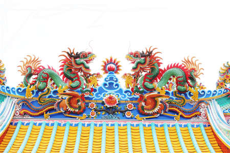 Twin statue of dragons on the roof