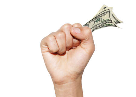 Hands money isolated on white background Stock Photo - 15897954