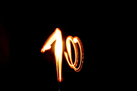 number 10 isolated on black background  Photography style freezelight photo