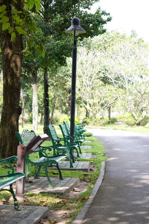 walking and green chair