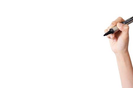 hand writing isolated white background photo