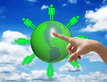 one hand selective world green Stock Photo - 16218639