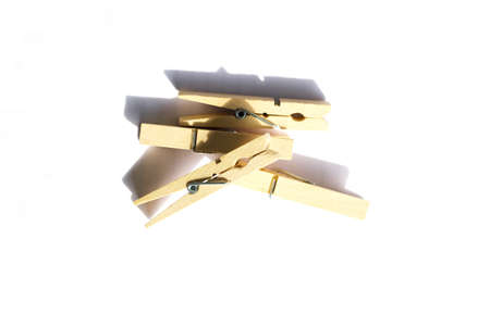 wooden clothespin on white background  photo