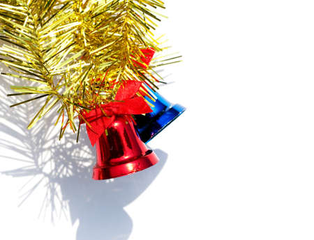 red and blue bell for christmas on white  background photo