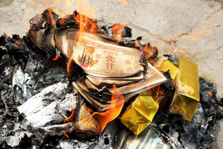 burning money: burning Ghost Money for Chinese Ghost