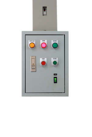 control box: Electric control box on iron pole isolated on white