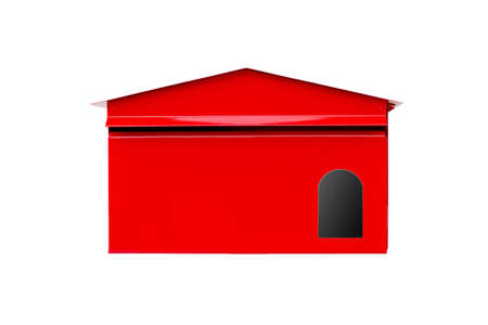 Isolated white background  Red Mailbox With Mail photo