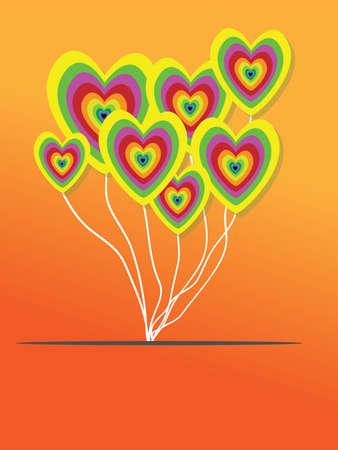 Valentines Day Heart Balloons on Orange Background Vector