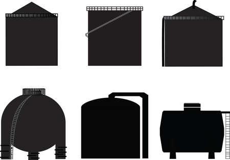 torres petroleras: vector, icono del tanque de almacenamiento de petróleo Vectores