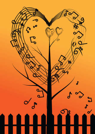 vector abstract musical tree and heart  Vector