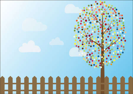 Vector of multicolored circles tree on blue