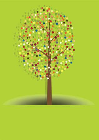 Vector illustration of multicolored circles tree