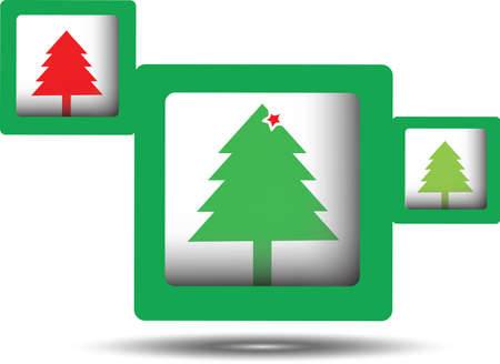 squares with merry christmas tree on white background,vector  Illustration