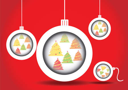 Christmas balls christmas tree in site vector on red