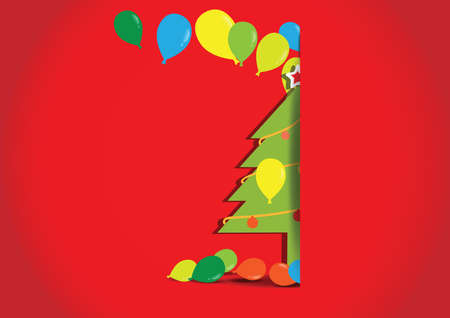 Christmas tree with balloons on red background, vector illustration